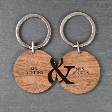 Personalised Couples Set of Two Wooden Keyrings